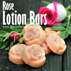 Rose Lotion Bars Lotion bars are a favorite DIY project for beginners and experienced alike. They're easy to whip up and make great gifts! These rose lotion bars are tinted a light pink and contain rose essential oil for scent. For the full recipe, click Diy Lotion, Lotion Bars, Hand Lotion, Rose Essential Oil, Homemade Soap Recipes, Homemade Beauty Products, Diy Skin Care, Home Made Soap, Perfume