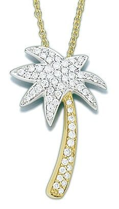 Preferred Jeweler- Smyth Jewelers- Timonium, MD 18kt Two Tone Gold Diamond Palm Tree