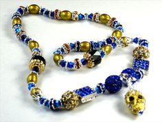 Gold Crystal Skull Pendant Necklace Blue Square Pave crystals by Chris of PurseCharming7, $18.00