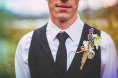 Lavender and Twine Boutonniere | Love Out Loud Studios | Gorgeous Rustic Bohemian Wedding in Vancouver