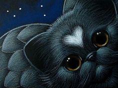 BLACK ANGEL KITTEN CAT WITH HEART