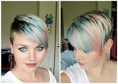 Pastel dye clipper haircut with small bangs
