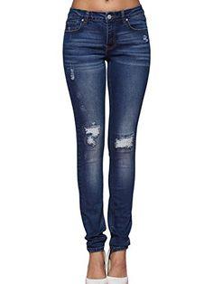 f7ce27ad Alice & Elmer Damen Blau Ripped Mid-Rise Skinny Jeans 30W x 30L -