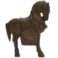 Wood Carved Horse Sculpture