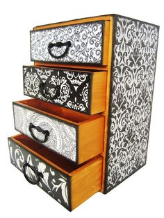 Jewelry Box With Drawers - Black and White Trinket Jewelry Box Organizer Chest with Four Drawers