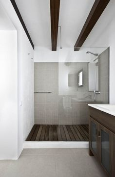 white and wood and gray bathroom