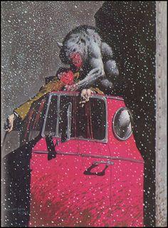 "wonderful-strange: ""Bernie Wrighson, illustration for Stephen King's The Cycle of the Werewolf, "" Comic Book Artists, Comic Artist, Comic Books Art, Horror Comics, Horror Art, Fantasy Kunst, Fantasy Art, Of Wolf And Man, Bernie Wrightson"