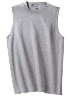 2757dca40dcef Gildan Ultra Cotton Sleeveless T-Shirt 2700 oz. pre-shrunk cottonSport Grey  is cotton polyester and Safety Green is cotton polyesterDouble-needle  stitched ...