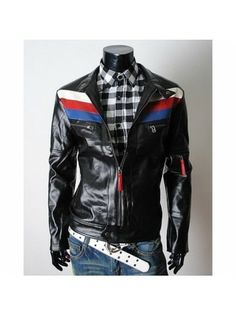 GRAND SALE-High-Fashion Style Striped and glossy slim-fit leather biker jackets for online sale. 100% premium quality genuine leather. Sporty, sharp and Intelligent outfit for young boys. Get into the groove. Rider sports jackets gives you the energetic boost with confidence. Look your best. Ride with style. #TopFashionBrand #RevelFashion #StyleFashionBrand