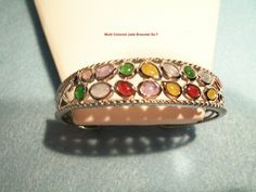 Multi Color Jadeite Jade Jewelry Cuff Bracelet, Sterling Silver | MaggieMays - Jewelry on ArtFire