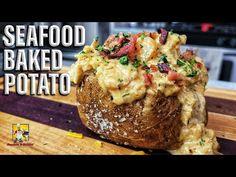 Seafood Baked Potato - YouTube Baked Potato Recipes, Fish Recipes, Seafood Recipes, Cooking Recipes, Cooking Videos, Chicken Recipes, Dinner Recipes, Seafood Bake, Recipes