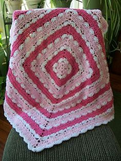 Precious Square Baby Blanket. free pattern by Mary Jane Protus.  Pic from Ravelry Project Gallery.  #crochet #afghan #throw #pillow by grandmaL
