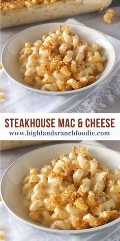 Steakhouse Mac And Cheese Recipe, Homemade Mac And Cheese Recipe Baked, Best Mac N Cheese Recipe, Best Mac And Cheese, Creamiest Mac And Cheese, Mac Cheese Recipes, Cheesy Mac And Cheese, Mac And Cheese Casserole, Recipes