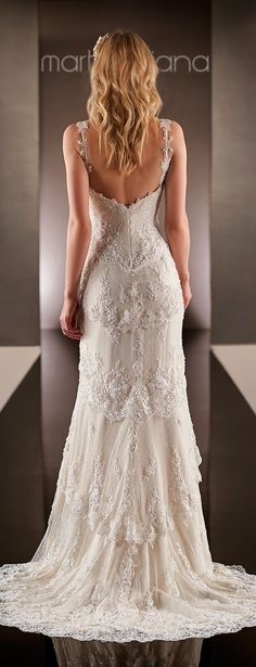 This Parisian Silk Chiffon sheath wedding dress from the Martina Liana designer bridal gowns collection features an overlay of layered scalloped Lace down to a sweep train. 2015 Wedding Dresses, Wedding Attire, Bridal Dresses, Wedding Gowns, Wedding Ceremony, Lace Weddings, Wedding Outfits, Sophisticated Bride, Mod Wedding