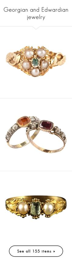 """""""Georgian and Edwardian jewelry"""" by daughter-of-apollo92 ❤ liked on Polyvore featuring jewelry, rings, cluster rings, green, antique flower ring, green emerald ring, antique cluster ring, pearl jewelry, flower ring and band rings"""