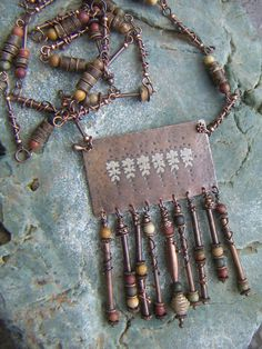 Long Copper Necklace with Textured Fringed Pendant от annamei, $83.00