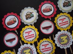 Disney's Cars Inspired Cupcake Toppers. $9.00, via Etsy.