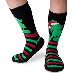 Disney Mickey Mouse Slipper Socks for Adults - Holiday | Disney StoreMickey Mouse Slipper Socks for Adults - Holiday - Step softly throughout the house this holiday season in these festive slipper socks with padded feet and non-slip soles. A woven Santa Mickey silhouette on the ankle makes for an extra merry pair.