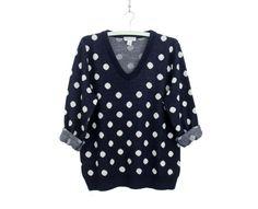 Vintage sweater // polka dot navy and white jumper by Yugovicheva