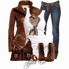 Brown jacket, white blouse, jeans, scarf, handbag and long neck shoes for fall