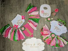 """The """"Watermelon"""" Collection. Watermelon, Strawberry 1st Birthday,Cake Smash outfit, First Birthday Girl, Birthday Outfit, High Chair Banner"""