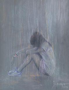 Bwrw Glaw: Sad Rain by Jovica Kostic Anime Girl Crying, Sad Anime Girl, Kawaii Anime Girl, Anime Art Girl, Sad Girl Art, Sad Art, Sad Girl Drawing, Sad Drawings, Dark Art Drawings