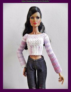Sweater for FR2 / Poppy Parker / Barbie / Tiny Kitty Collier dolls