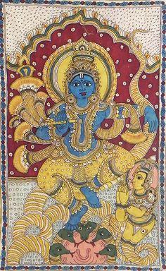 Kaliya Daman by Lord Krishna - Kalamkari Painting
