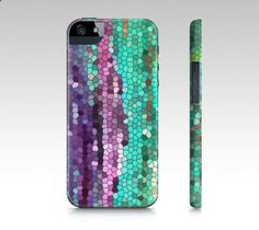 This artistic case features a teal and purple mosaic design by Catherine Holcombe.   This design was made by photographing one of my abstract oil paintings and adding effects digitally.  I played with it until I achieved the desired result.  I hope you love it!  Please note that as computer monitors vary, the image on the case may be a little different.  Slim fit phone cases features: -All-over embedded print -Hard case made from poly-carbon; the same plastic used for motorcycle ...