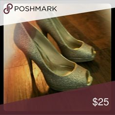 Gold Heels Peep toe, great condition, dressy, glittery Express Shoes Heels