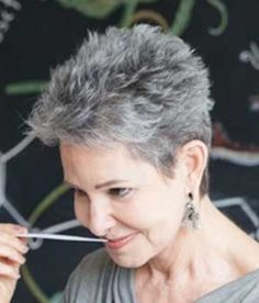 Short hair cuts Beste kurze Pixie graue Haare Why we Need to Take Risks It does not matter if you ar Pixie Haircut For Thick Hair, Grey Curly Hair, Haircut For Older Women, Short Hairstyles For Women, Curly Hair Styles, Short Grey Haircuts, Short Spiky Hairstyles, Short Haircut Styles, Undercut Hairstyles