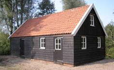 Houten schuur type Gistel Prefab Cottages, Small Sheds, Garden Buildings, Garages, Beautiful Bedrooms, Exterior Paint, Stables, Tiny House, Outdoor Living