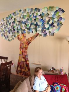 Paint chip wall tree & wall art made with paint samples from home depot. | Art | Pinterest ...