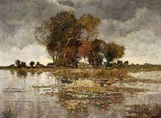 Le Prince Lointain: Karl Heffner (1849-1925), Baumgruppe am Flussufer....