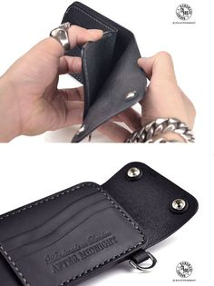 Trifold Biker Wallet with 8 card pockets & by AfterMidnightLondon