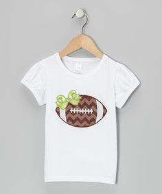 Cute White & Lime Zigzag Football applique Tee - Infant, Toddler & Girls on zulily Fall Applique, Applique Monogram, Monogram Machine, Football Tailgate, Football Shirts, Football Season, Sewing For Kids, Sewing Ideas, Sewing Crafts