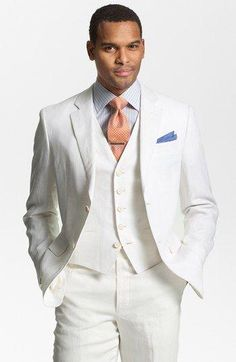 Casual White Linen Suits Summer Notched Lapel men wedding suits grooms tuxedos Three piece mens suits slim fit Beach groomsmen suit
