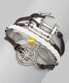 Brown 'Courage' Cord Bracelet