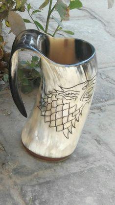 Plain Screw Finish Viking Drinking Horn Mug Cup Beer Wine Mead Pagan Celti