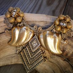 Gold mesh lace statement necklace,Sentimental/Reminiscence memory jewelry,Recycled/Upcycled jewelry,Free USA shipping, Made in USA/Michigan by OutsiderArtJewelry on Etsy