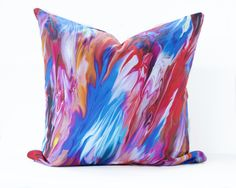 Marble print pillow cover - blue, pink, red, orange, marbled accent cushion, bright abstract, watercolour modern, contemporary pillow cover by InkAndLinenCo on Etsy https://www.etsy.com/ca/listing/494165555/marble-print-pillow-cover-blue-pink-red