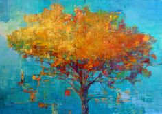 """Elizabeth Washburn, Gumball Machines and Trees, """"Fire Tree Art Painting, Encaustic Art, Abstract Tree Painting, Tree Art, Painting, Art, Abstract, Abstract Tree, Modern Art Abstract"""