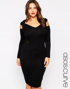 ASOS CURVE Midi Body-Conscious Dress with Mesh Inserts