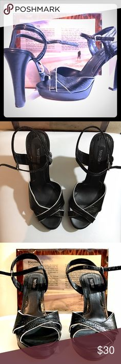 White House Black Market size 7.5-8 heels Black and white perfect heel. New as it gets. Beautiful shoe to have. Must see White House Black Market Shoes Heels