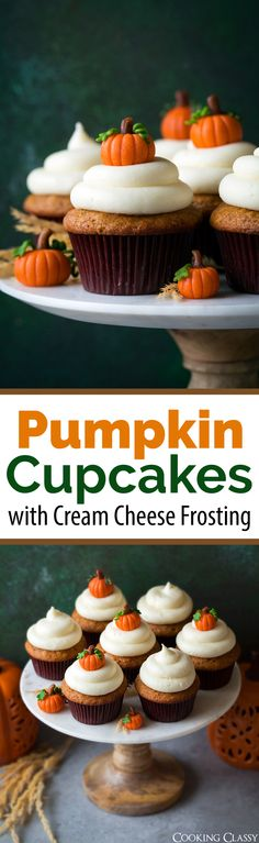 Pumpkin Cupcakes with Cream Cheese Frosting - these are the BEST! A fall must! #pumpkin #cupcakes