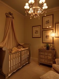 ROYAL LOVELY BABY ROOM. Love the curtain above the crib and the mirrored dresser. This website has soo many ideas my brain is exploding LOL