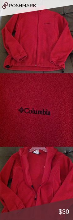 Red Columbia Fleece Jacket. GREAT CONDITION! Red Colombia fleece jacket. Only been worn a handful of times. Like new! Size S. 100% Polyester. Columbia Tops Sweatshirts & Hoodies