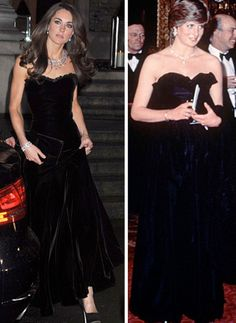 Kate and Diana in black velvet