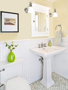 Use timeless materials with simple lines for a classic small bath. Chrome or nickel fittings, a trimmed-out medicine cabinet, and beaded board create a look that will endure.