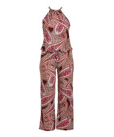 db0af97c5cf Burgundy   Pink Paisley Jumpsuit - Plus Size Clothing